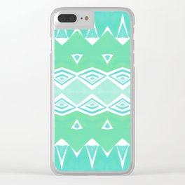 Geo Triangle Sea Green 2 Clear iPhone Case