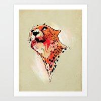 cheetah Art Prints featuring CHEETAH by KUI29