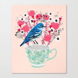 Bird on a Teacup by Andrea Lauren  Canvas Print