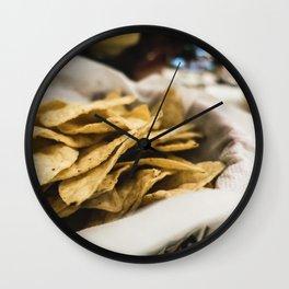 Closeup of nachos Wall Clock