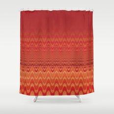 Bright Orange Ombre Chevron Wave Fade Out Shower Curtain