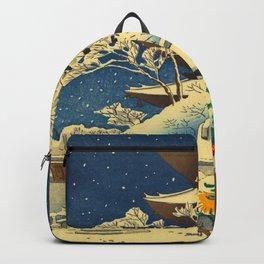 Japanese Woodblock Print Vintage Asian Art Colorful woodblock prints Shrine At Night Snow White Backpack