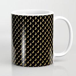 Gold half moons on black Coffee Mug