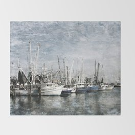 Shrimp Boats at the Harbor Throw Blanket