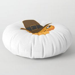 Thanksgiving Orange Tabby Cat Pilgrim Hat Pumpkin Season Floor Pillow