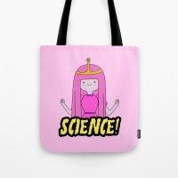 princess bubblegum Tote Bags featuring Princess Bubblegum Love Science by Illustrations by Krishna Tabanera