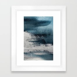 Navy Blue Silver Gray Abstract Painting Framed Art Print