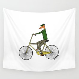 Mr. Fox on a Bicycle Wall Tapestry