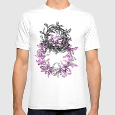Flowers Circle White MEDIUM Mens Fitted Tee