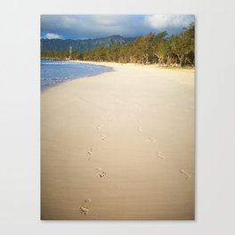 footprints in the sand. Canvas Print