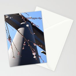A Spring Japanese Temple with Sakura Cherry Blossoms Stationery Cards