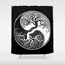 White and Black Tree of Life Yin Yang Shower Curtain