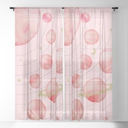 The Pink Solar System Sheer Curtain