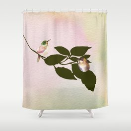 Watercolor Hummingbirds on a Branch Shower Curtain
