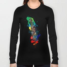Aboriginal Art - Wetlands Feather 2 Long Sleeve T-shirt