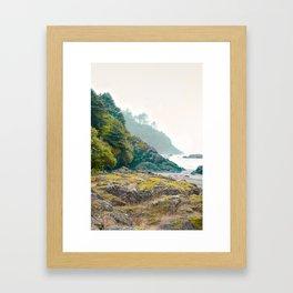 Misty Northwest Coastline Pacific Ocean Beach Nautical Decor PNW Art Beards Hollow Framed Art Print