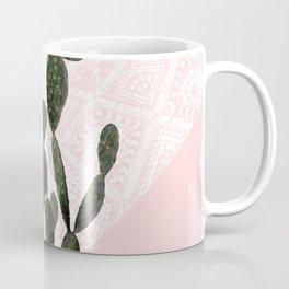 Cactus on Pink and Persian Mosaic Wall Coffee Mug