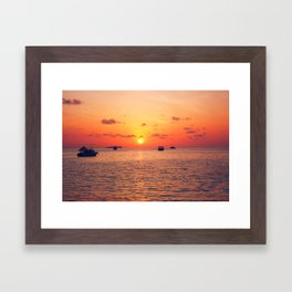 Sunset over The Maldives Framed Art Print