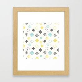 Aqua gray yellow abstract geometrical diamond pattern Framed Art Print