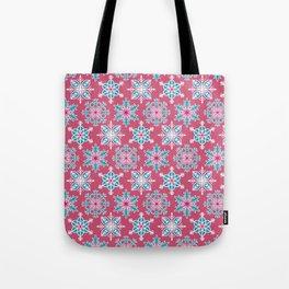 Snowflakes - Rainbow Snowflakes Dark Pink Tote Bag