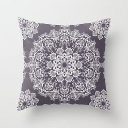 hand drawn white mandala on dark violet background Throw Pillow