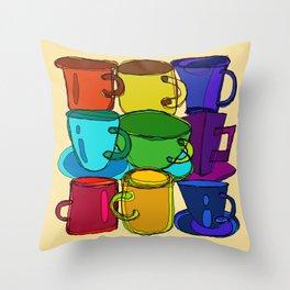 Tea Cups and Coffee Mugs Spectrum Throw Pillow