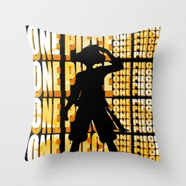 strawhats silhouette Throw Pillow