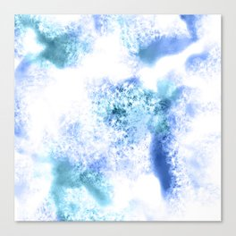 Bright Blue Marble Crystal Watercolor Canvas Print