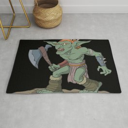 Tabletop role-playing figure goblin with ax Rug