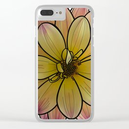 Yellow & Pink Dahlia Clear iPhone Case