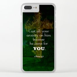 1 Peter 5:7 Uplifting Bible Verses Quote Clear iPhone Case