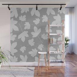 Grey leaves decor. Wall Mural