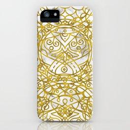 Golden Ornamental Mandala on White Marble iPhone Case