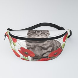 Tiger Cat poppies Field Fanny Pack