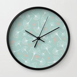 modern botanical turquoise ginkgo Wall Clock
