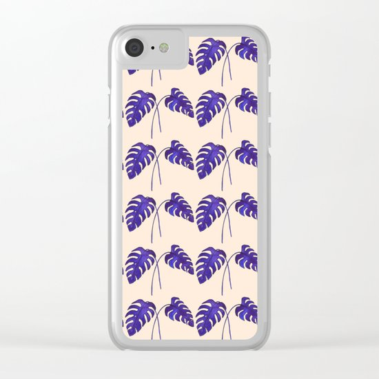 Indigo Monstera Leaf Watercolor on Blush Clear iPhone Case