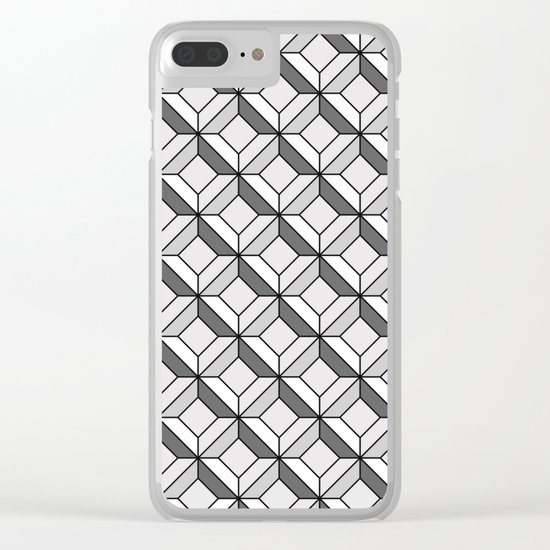 Squares in Gray Clear iPhone Case