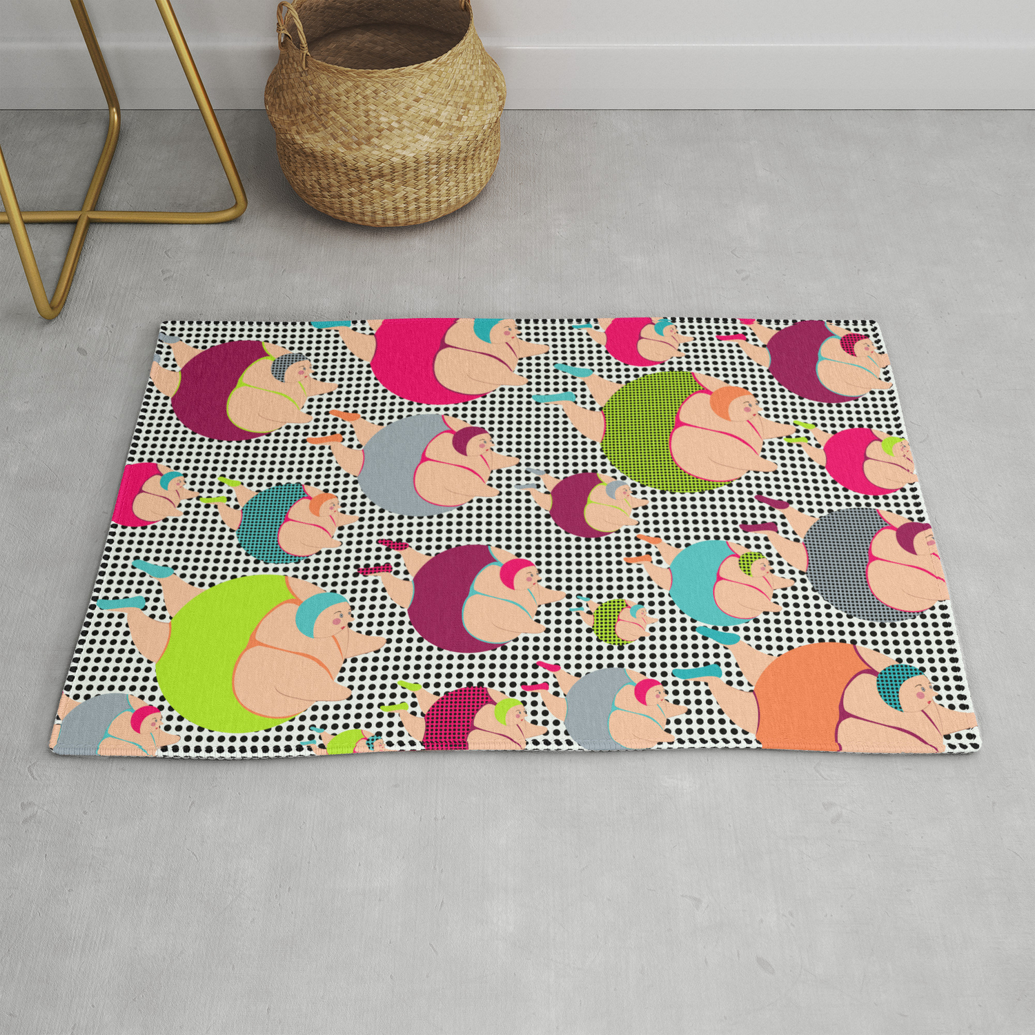 Synchronised Spotty Swimmers Rug By