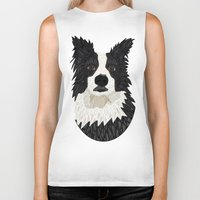border collie Biker Tanks featuring Beautiful Border Collie by ArtLovePassion