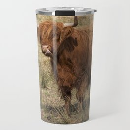 Scottish Highland ginger cow with it's tongue out Travel Mug