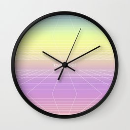 Love & Exist - 3D Dimensional Wireframe Plane of Existence Pastel Surreal Design Wall Clock