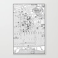 oakland Canvas Prints featuring Oakland  by Hollyce Jeffriess Designs