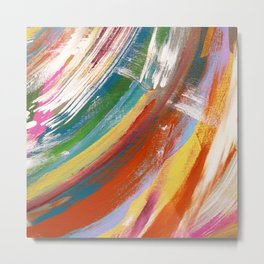 Pretty, minimal, acrylic piece in red, yellow, green, pink, and blue Metal Print
