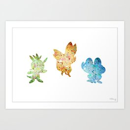 Kalos Starter Monsters Set Art Print