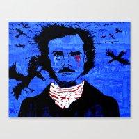 edgar allen poe Canvas Prints featuring Edgar Allen Poe by Pluto00Art / Robin Brennan