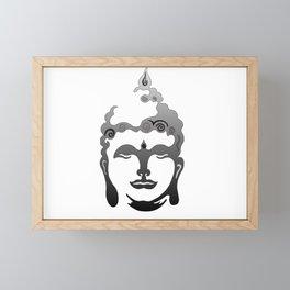 Buddha Head grey black white background Framed Mini Art Print