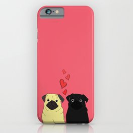 Pugs In Love Pink iPhone Case