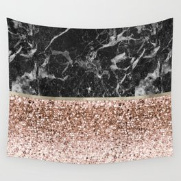 Warm chromatic - rose gold and black marble Wall Tapestry