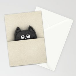 Cute Fluffy Black cat peaking out Stationery Cards