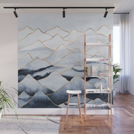 Mountains 2 - Gold Colored Lines Wall Mural